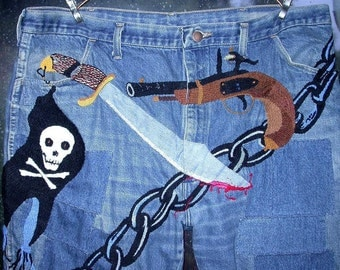 Embroidered Denim Jeans, Scalawag, the Pirate Chiefs Friend, Patched pants, 42x30,  Resurrected Jeans, festival,