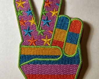 1960s-70s Hippie Peace Movement TWO FINGER PEACE Patch