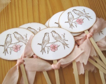 Lovebirds Wedding Cupcake Toppers, Wedding Shower Toppers
