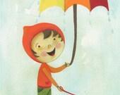 SALE - Walking in the Rain with my trusty umbrella 5 x 7 print original illustrated art print