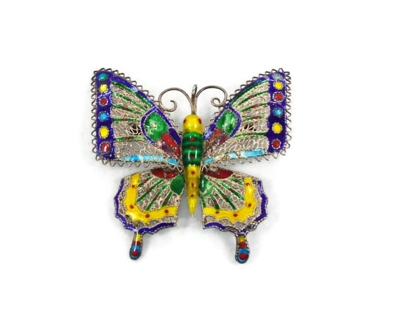Enameled Butterfly  Pendant Brooch Pin - Vintage 800 Silver - Blue Yellow Green - Ornate & Intricate -  InVintageHeaven