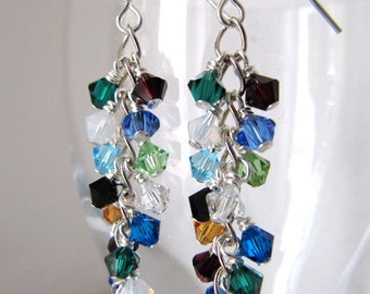 Precious Gems Shower cluster earrings - Swarovski crystals, Sterling Silver MADE TO ORDER
