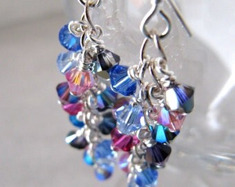 Magic Shower cluster earrings - Swarovski crystals, Sterling Silver MADE TO ORDER