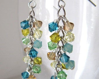 Lagoon Shower cluster earrings - Swarovski crystals, Sterling Silver MADE TO ORDER