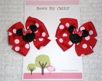 Mini Minnie Mouse Hair Bows for Pigtails - Red Minnie Hair Bows - Baby Hair Bows - Toddler Hair Bows - Small Hair Bows
