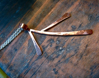 Md Hanging Branch in Copper, Bronze or Sterling on a sterling chain