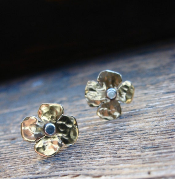 Teeny Tiny Flower Posts in Copper or Bronze