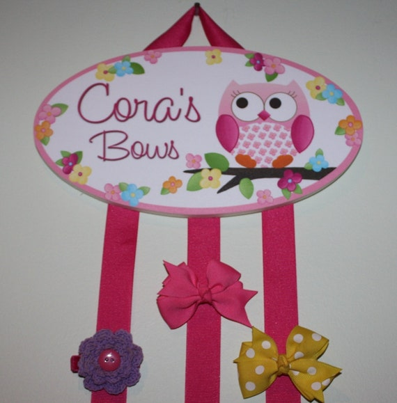 HAIR BOW HOLDER - Personalized Owls Love Flowers HairBow Holder - Bows and Clips Organizer - Girls Personal Hair Bow and Clip Hanger HB0074