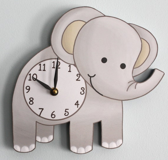 Elephant wooden wall clock for kids bedroom baby nursery for Wall clock images for kids