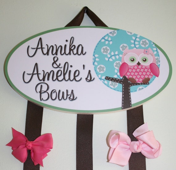 HAIR BOW HOLDER - Personalized Sweet Little Owl HairBow Holder - Bows Clippies Organizer - Girls Personal Hair Bow and Clip Hanger Hb0124