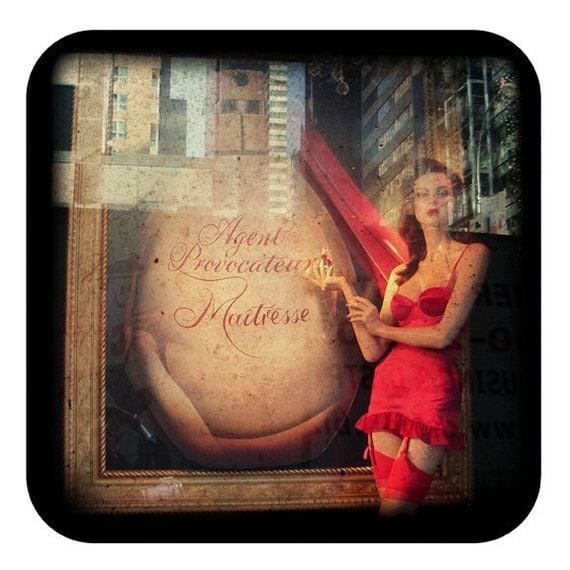 Agent Provocateur NYC Color Photography Mannequin Art Lingerie Photography Window Display Scarlet Red  - Maitresse