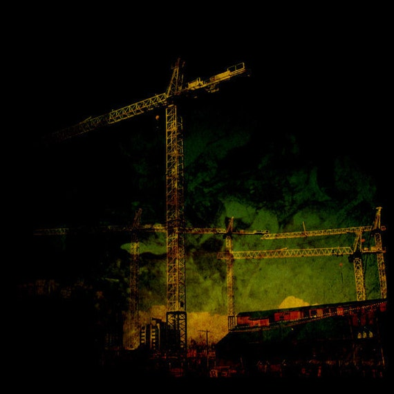Vancouver BC Art Gift for Guys Black and Neon Construction Decor Cranes Photography Metallic Paper Ships from Canada Print - Progress