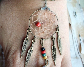 Peace Catcher Tiger's Eye Bohemian Dreamcatcher  Bracelet  Hippie  Tribal  Antiqued Brass   Native American Inspired