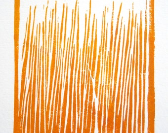linocut print abstract orange handpulled tangerine wall decor