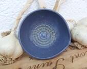 Garlic Puree Making Dish in Indigo Purple Stoneware