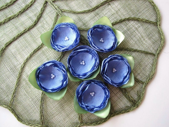 Handmade fabric flower appliques, silky satin flowers, floral embellishments, flower appliques (6 pcs) - CORNFLOWER BLUE ROSES With Leaves