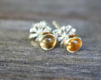 Citrine Ear Studs, Gemstone Jewelry, November Birthstone