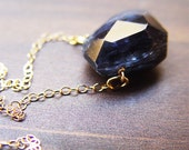 Navy Kyanite Nugget Gold Necklace