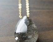 Black Rutilated Quartz Gold Necklace