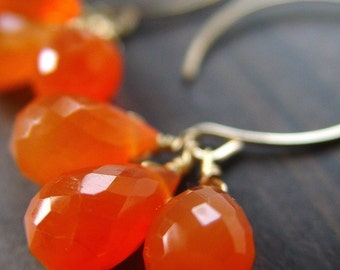 SALE Carnelian Cluster Gold Earrings 14k