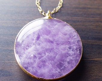 SALE Large Round Amethyst Necklace Gold Fill