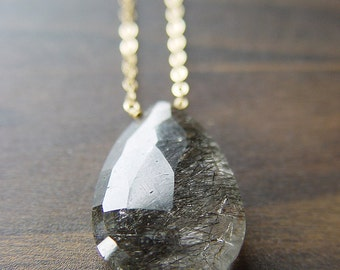 ON SALE Black Rutilated Quartz Gold Necklace