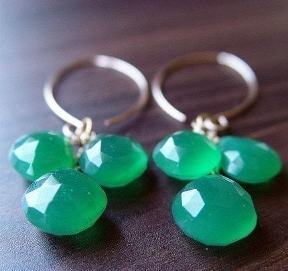 Green Onyx Cluster Earrings 14k Gold