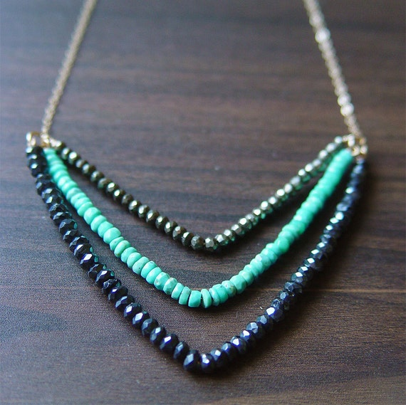 Chevron Pyrite Turquoise Necklace 14k Gold Fill