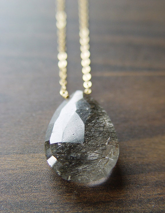 Black rutilated quartz gold necklace for Golden rutilated quartz jewelry