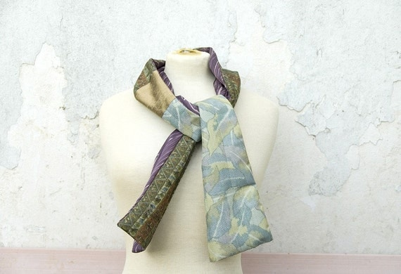 50% Off Sample Sale Silk Scarf from Vintage Kimono, Patchwork Scarf, Gift For Her