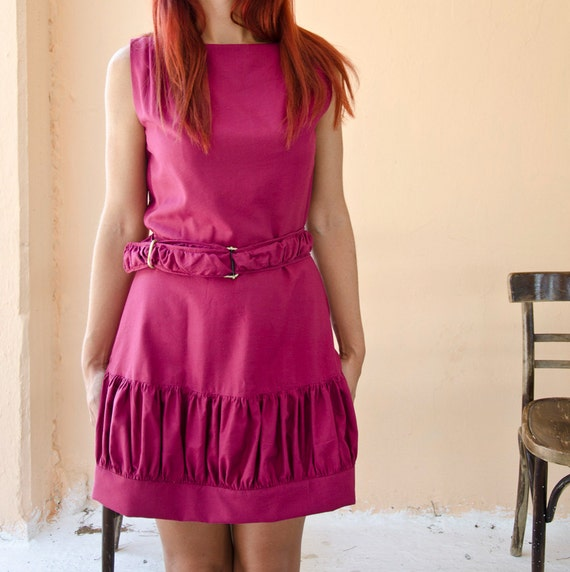 Violet Retro Summer Dress with Gathered Panel, Party Dress in Cotton, Sleeveless Mini Dress