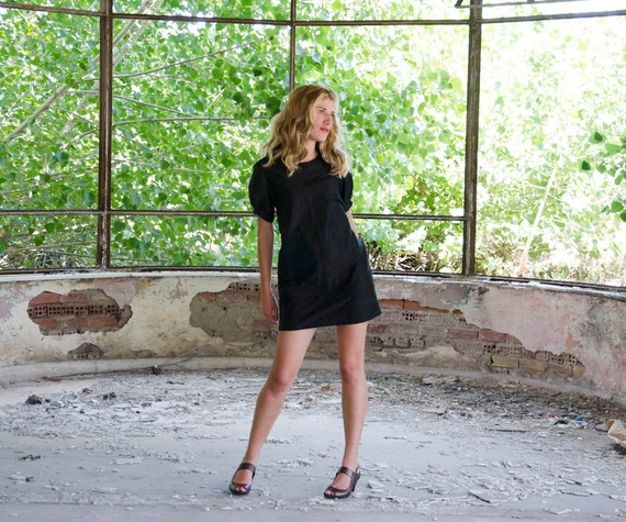 Little Black Dress in Silk with Raised Neckline and Puffed Sleeves, Available in Mustard, Gold, Yellow, Blue, Party Dress