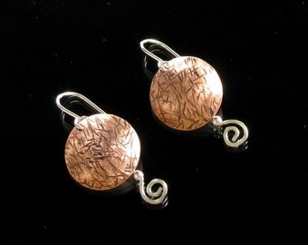 Silver & Copper Dangle Earrings - Unique Earrings - Mixed Metal - Metal Jewelry - Metal Earrings - OOAK - Copper Earrings - Modern Earrings
