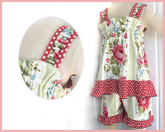 Red Rose Floral Polka Dot Girls Top & Ruffle Short Set Size 12m 18m 2T 3T 4T Baby Toddler Clothing Toddler Girl Clothes Childrens Clothing