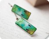 Green earrings - Two birds earrings - Autumn jewelry (E032)