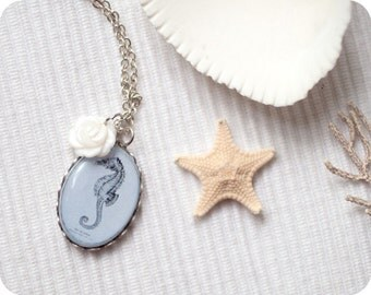 Blue ocean necklace  - Under the sea - Romantic gift jewelry - Bridesmaid blue gift - Seahorse dainty necklace - Sea necklace blue (N042)