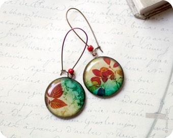 Red leaf earrings - Botanical earrings - Leaves earrings - Nature earrings - Bright earrings - Red dangle earrings - Autumn jewelry (E027)