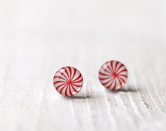 Peppermint earrings - Candy earring studs - Peppermint stud earrings  - Red stud earrings - Candy jewelry for her (E099)