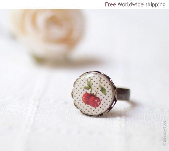 Cherry ring - Retro jewelry - Polka dot (R009)