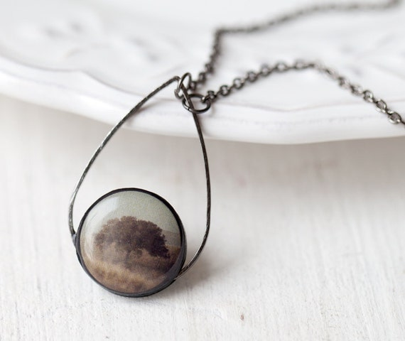 Mystery Tree necklace - Brown necklace - Boho Jewelry - Art photo necklace - Wearable art - Nature Jewelry - Autumn jewelry (N076)