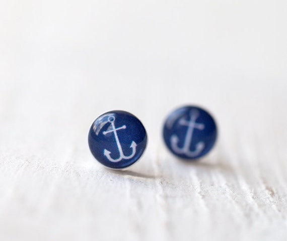 Tiny anchor earrings - Anchor stud earrings - Navy blue stud earrings - Tiny stud earrings - Nautical earrings - Everyday earrings (E101)