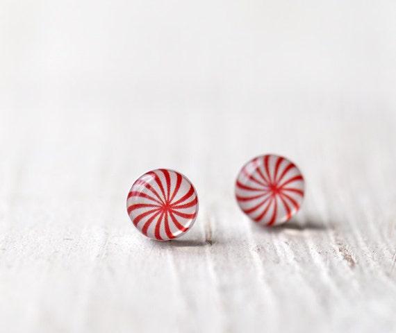 Peppermint earrings - Candy earring studs - Peppermint stud earrings  - Red stud earrings - Candy jewelry for her (E099)