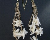 SIRENA-Ivory Coral, Cluster, Swingy, Long, Gold Chain, Mermaid, Bride, Beach Gypsy, Dangling Earrings