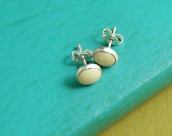 White Coral Cab Earrings- Free Shipping