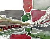 Abstract Painting - Original (not print) watercolor - Structures