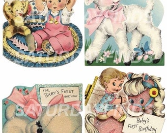 Happy Birthday 1 Year Old Vintage Children's Greeting Cards Collage Sheet Instant Download