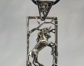 Unicorn Pendant With Sun Bail in Sterling Silver