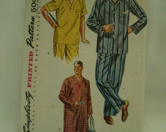 Simplicity 4108 Vintage 50s Mens Pajama and nightshirt pattern Size Medium