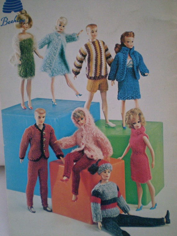 Just For Dolls - Vintage booklet of Knitting patterns for baby and Barbie dolls from Beehive