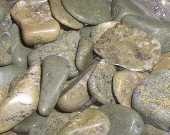 Epidote Tumbled and Polished Natural Gemstones Pistachio Green Newfoundland Labrador Crafts Jewelry Rock Art